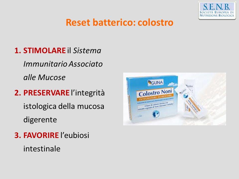 Reset batterico: colostro 1.STIMOLARE il Sistema Immunitario Associato alle Mucose 2.PRESERVARE lintegrità istologica della mucosa digerente 3.FAVORIR