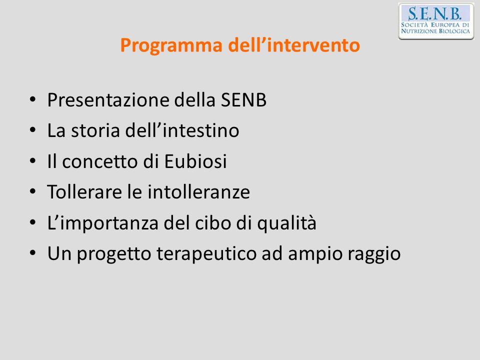 Programma dellintervento Presentazione della SENB La storia dellintestino Il concetto di Eubiosi Tollerare le intolleranze Limportanza del cibo di qua