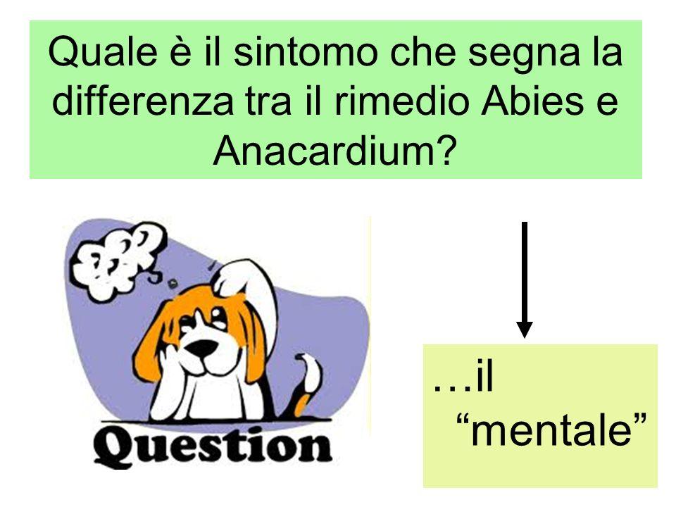 Quale è il sintomo che segna la differenza tra il rimedio Abies e Anacardium? …il mentale