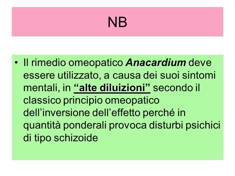 NB alte diluizioniIl rimedio omeopatico Anacardium deve essere utilizzato, a causa dei suoi sintomi mentali, in alte diluizioni secondo il classico pr