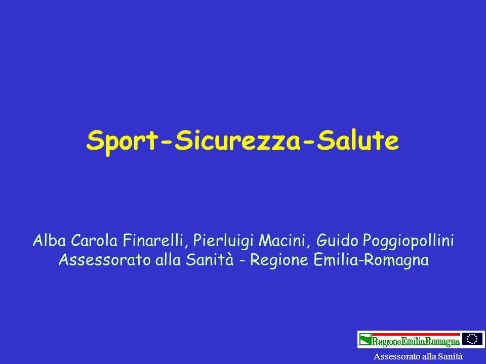 Sport-Sicurezza-Salute Alba Carola Finarelli, Pierluigi Macini, Guido Poggiopollini Assessorato alla Sanità - Regione Emilia-Romagna Assessorato alla