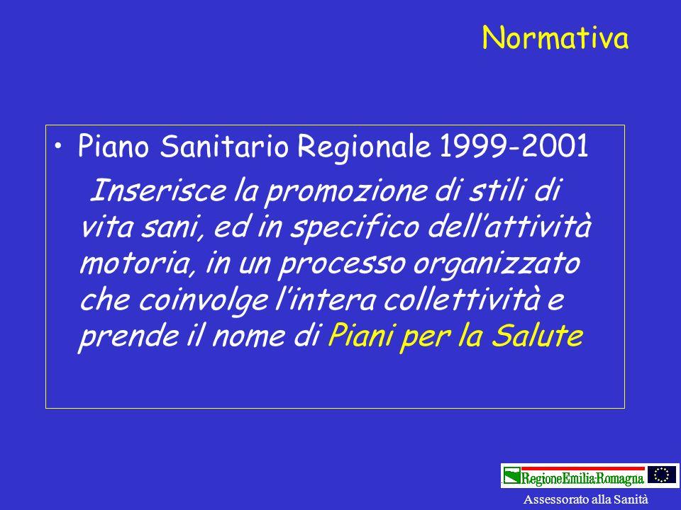 Piano Sanitario Regionale 1999-2001 Inserisce la promozione di stili di vita sani, ed in specifico dellattività motoria, in un processo organizzato ch