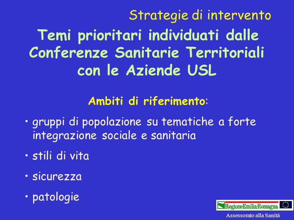 Temi prioritari individuati dalle Conferenze Sanitarie Territoriali con le Aziende USL Ambiti di riferimento: gruppi di popolazione su tematiche a for