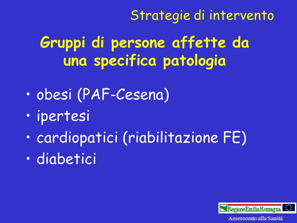 Gruppi di persone affette da una specifica patologia obesi (PAF-Cesena) ipertesi cardiopatici (riabilitazione FE) diabetici Assessorato alla Sanità St
