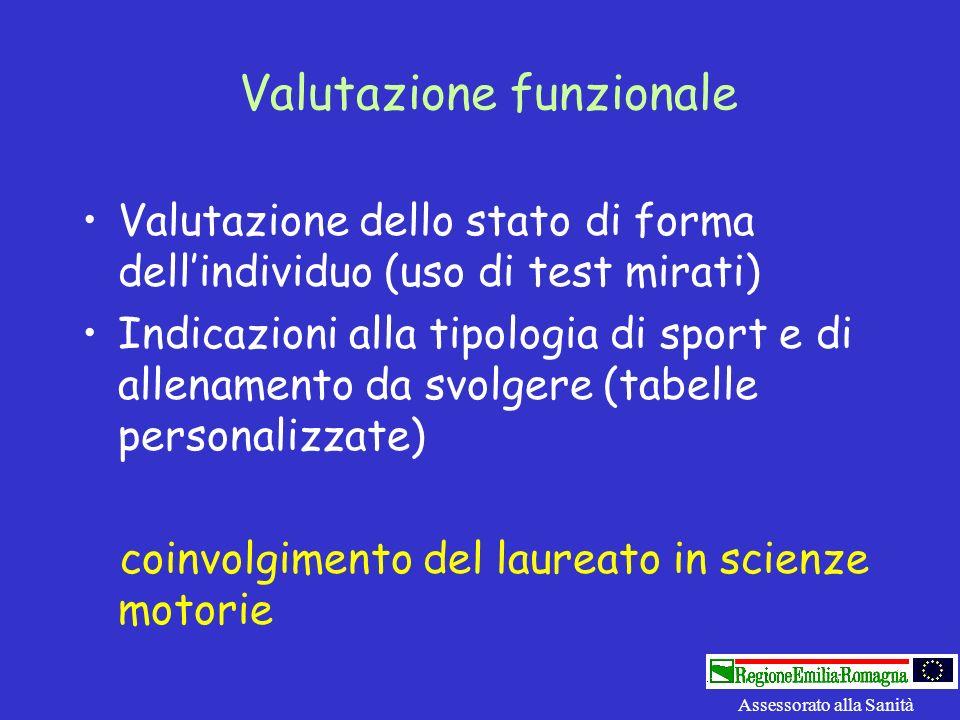 Valutazione funzionale Valutazione dello stato di forma dellindividuo (uso di test mirati) Indicazioni alla tipologia di sport e di allenamento da svo