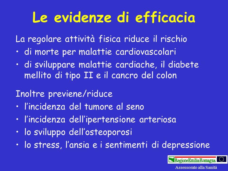 Le evidenze di efficacia Assessorato alla Sanità La regolare attività fisica riduce il rischio di morte per malattie cardiovascolari di sviluppare mal