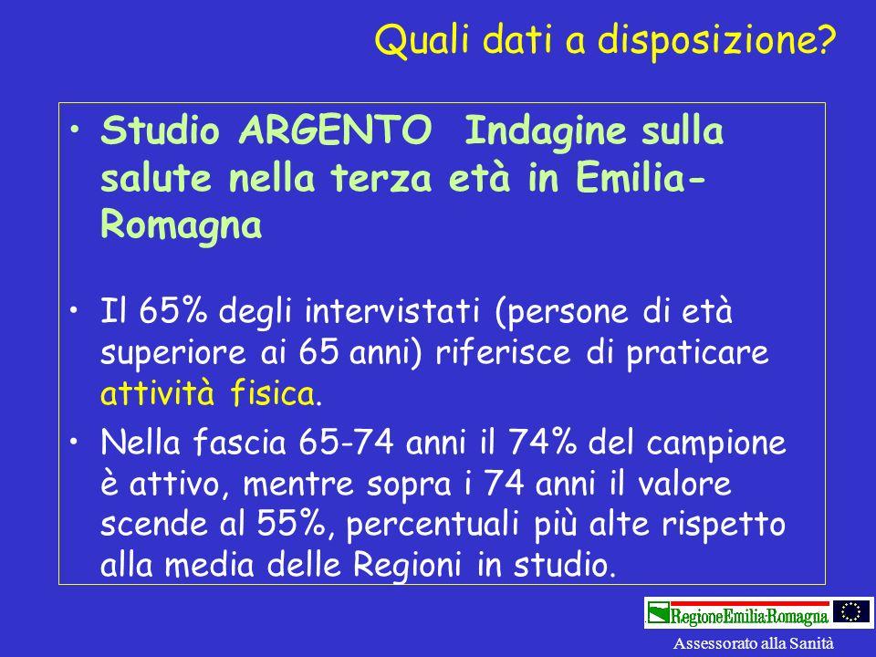 Studio ARGENTO Indagine sulla salute nella terza età in Emilia- Romagna Il 65% degli intervistati (persone di età superiore ai 65 anni) riferisce di p