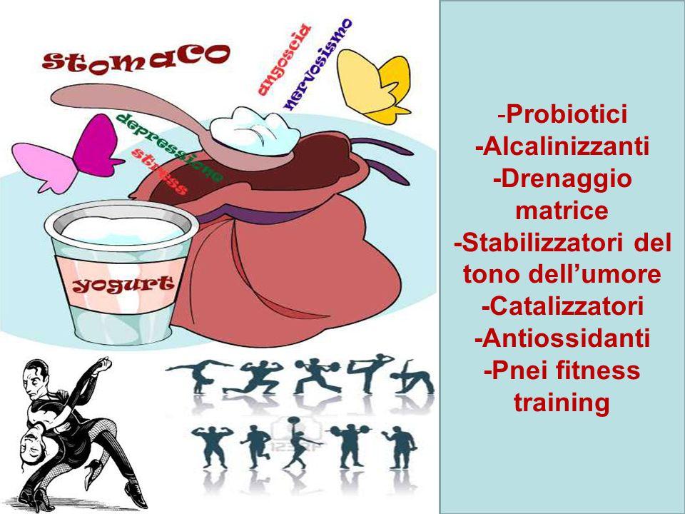 -Probiotici -Alcalinizzanti -Drenaggio matrice -Stabilizzatori del tono dellumore -Catalizzatori -Antiossidanti -Pnei fitness training