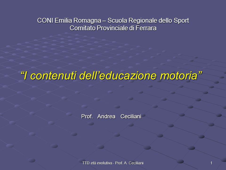 1TTD età evolutiva - Prof. A. Ceciliani CONI Emilia Romagna – Scuola Regionale dello Sport Comitato Provinciale di Ferrara I contenuti delleducazione