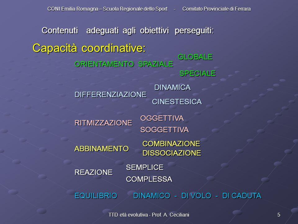 5TTD età evolutiva - Prof. A. Ceciliani Contenuti adeguati agli obiettivi perseguiti: Capacità coordinative: ORIENTAMENTO SPAZIALE GLOBALE SPECIALE DI