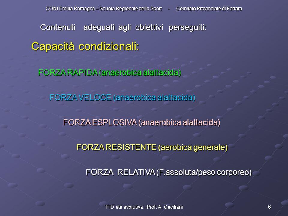 6TTD età evolutiva - Prof. A. Ceciliani Contenuti adeguati agli obiettivi perseguiti: Capacità condizionali: FORZA RAPIDA (anaerobica alattacida) FORZ