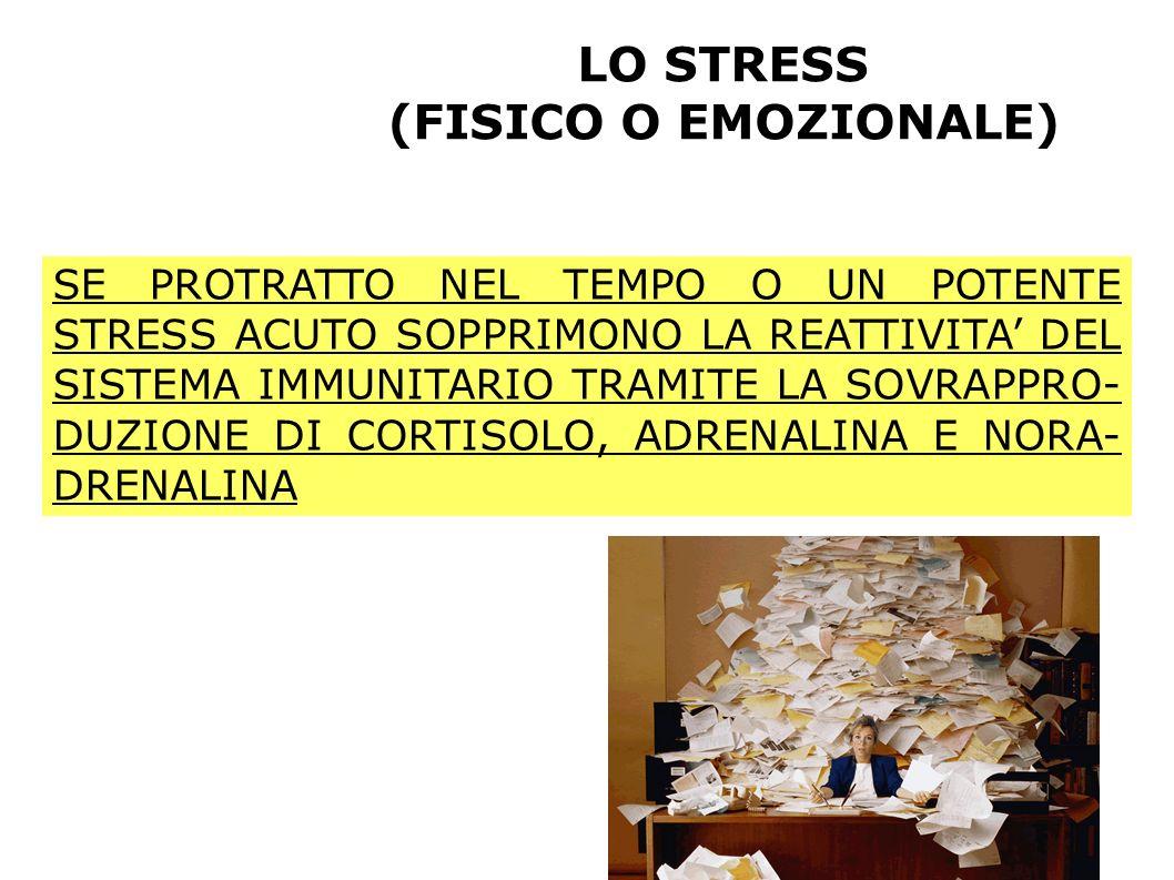 LO STRESS (FISICO O EMOZIONALE) SE PROTRATTO NEL TEMPO O UN POTENTE STRESS ACUTO SOPPRIMONO LA REATTIVITA DEL SISTEMA IMMUNITARIO TRAMITE LA SOVRAPPRO