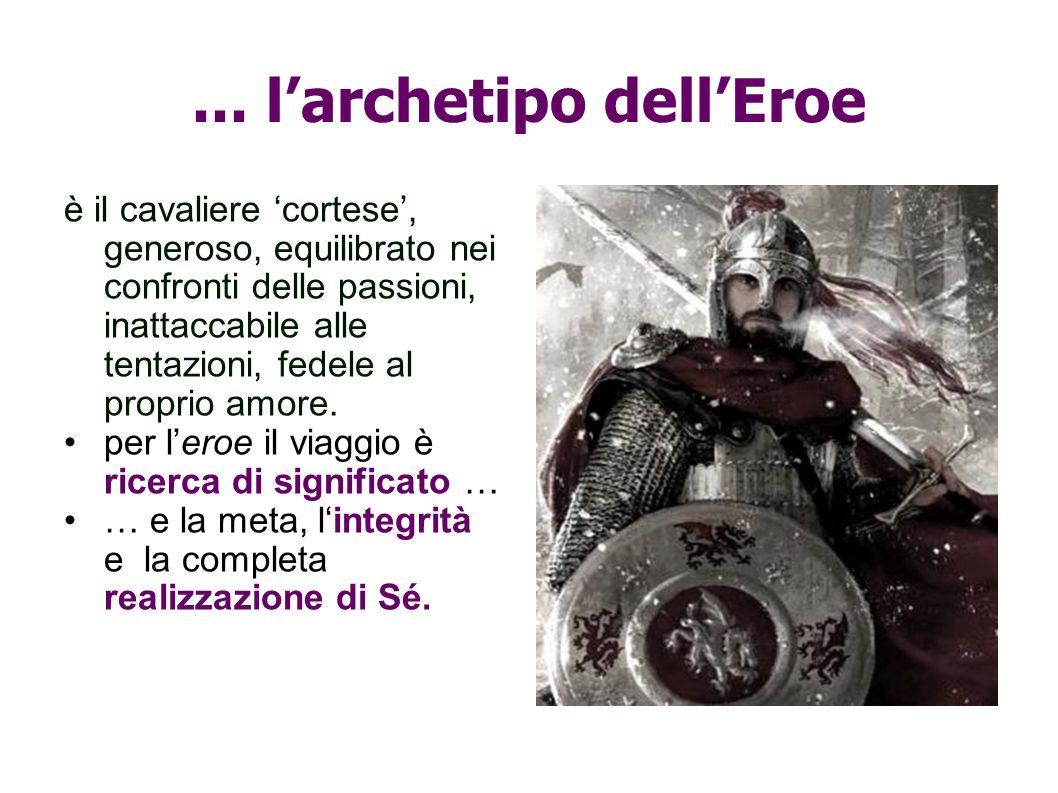 ... larchetipo dellEroe è il cavaliere cortese, generoso, equilibrato nei confronti delle passioni, inattaccabile alle tentazioni, fedele al proprio a