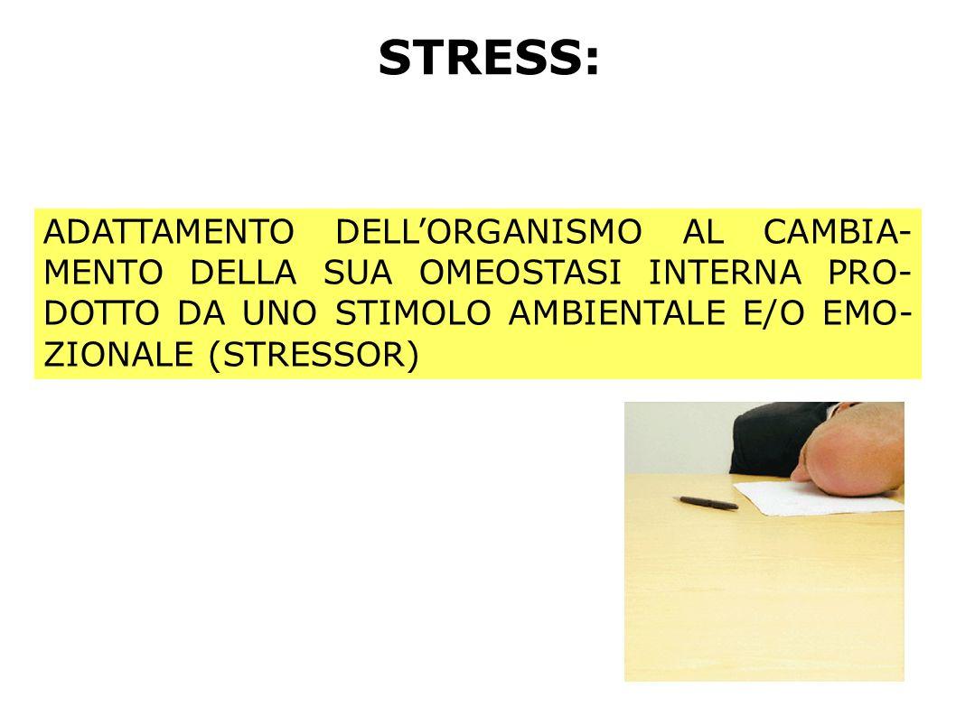 STRESS: ADATTAMENTO DELLORGANISMO AL CAMBIA- MENTO DELLA SUA OMEOSTASI INTERNA PRO- DOTTO DA UNO STIMOLO AMBIENTALE E/O EMO- ZIONALE (STRESSOR)