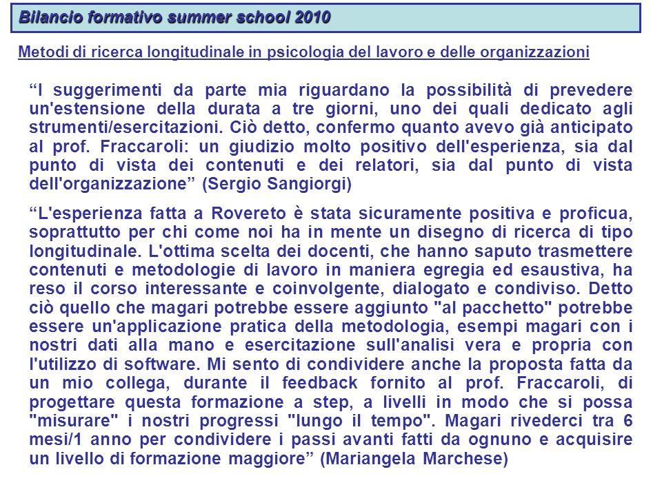 Bilancio formativo summer school 2010 I suggerimenti da parte mia riguardano la possibilità di prevedere un'estensione della durata a tre giorni, uno
