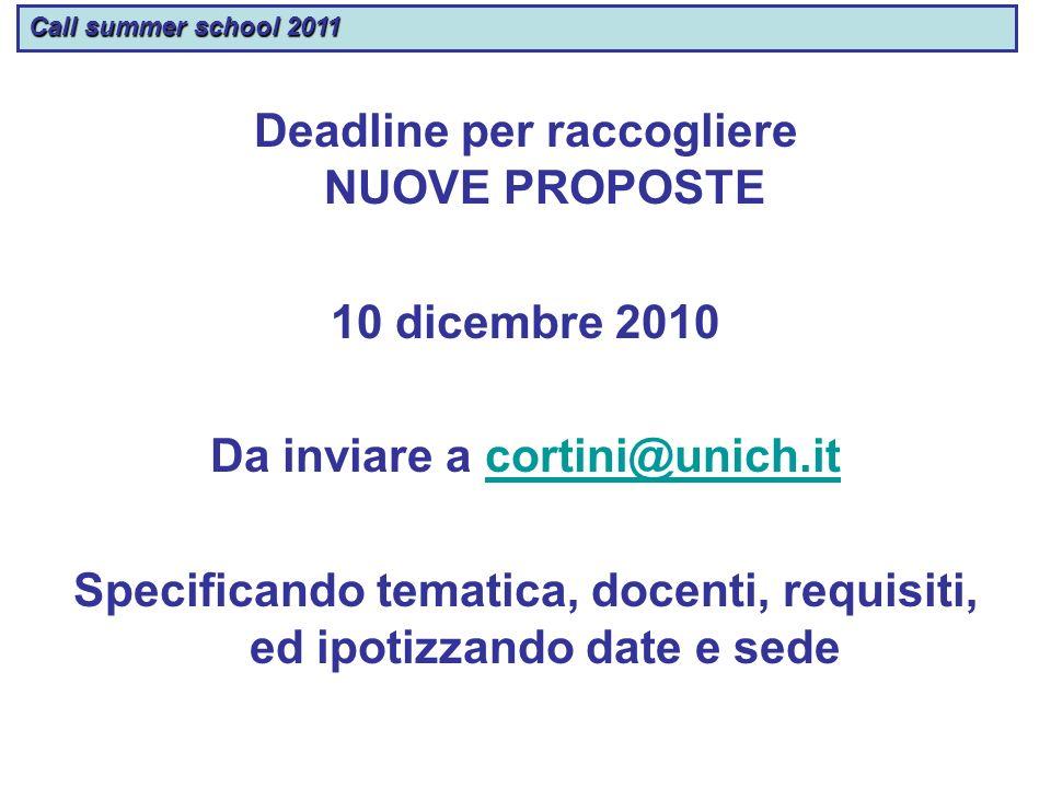 Call summer school 2011 Deadline per raccogliere NUOVE PROPOSTE 10 dicembre 2010 Da inviare a cortini@unich.itcortini@unich.it Specificando tematica,