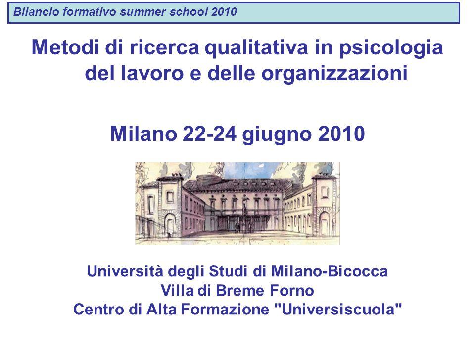 Metodi di ricerca qualitativa in psicologia del lavoro e delle organizzazioni Milano 22-24 giugno 2010 Università degli Studi di Milano-Bicocca Villa