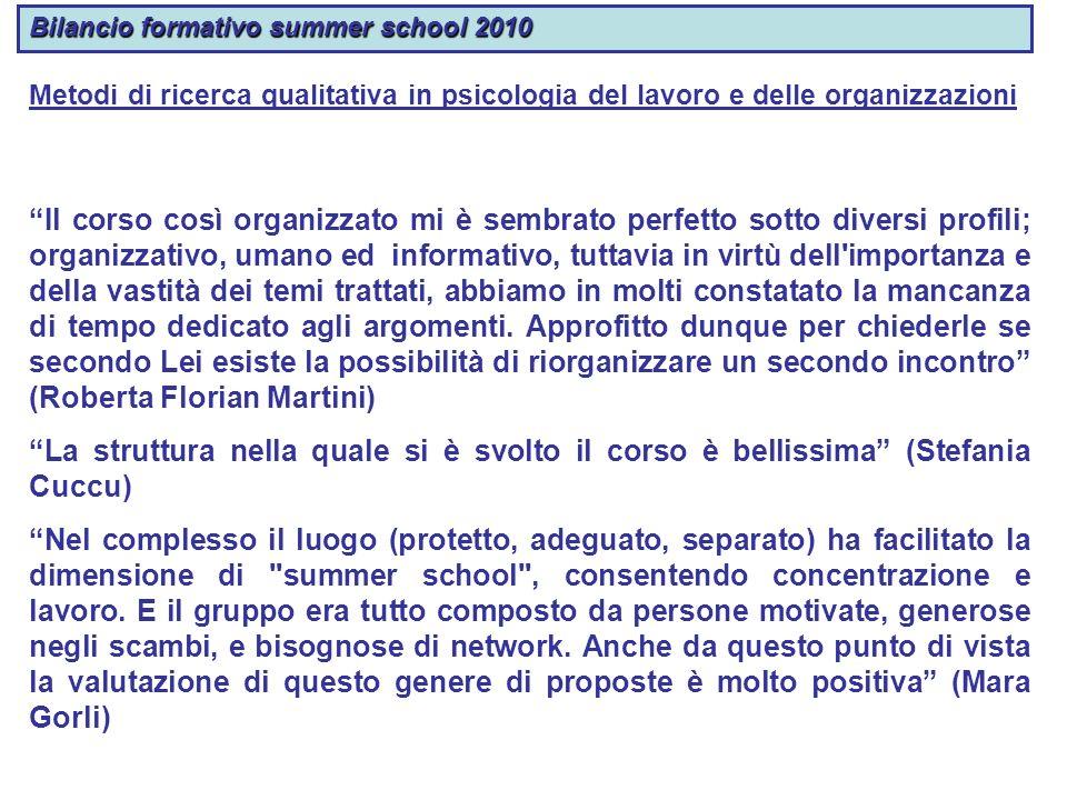 Bilancio formativo summer school 2010 Metodi di ricerca qualitativa in psicologia del lavoro e delle organizzazioni Il corso così organizzato mi è sem