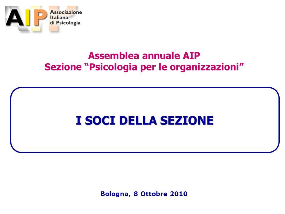-1- I SOCI DELLA SEZIONE Bologna, 8 Ottobre 2010 Assemblea annuale AIP Sezione Psicologia per le organizzazioni