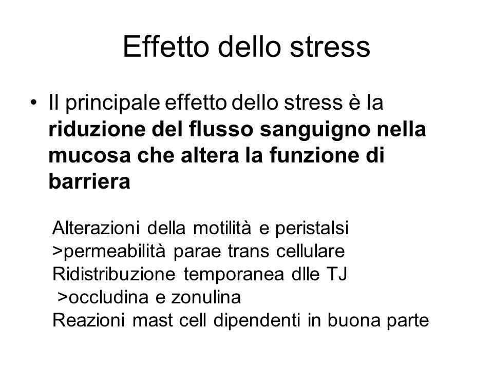 Effetto dello stress Il principale effetto dello stress è la riduzione del flusso sanguigno nella mucosa che altera la funzione di barriera Alterazion
