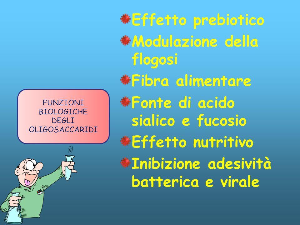 Effetto prebiotico Modulazione della flogosi Fibra alimentare Fonte di acido sialico e fucosio Effetto nutritivo Inibizione adesività batterica e vira