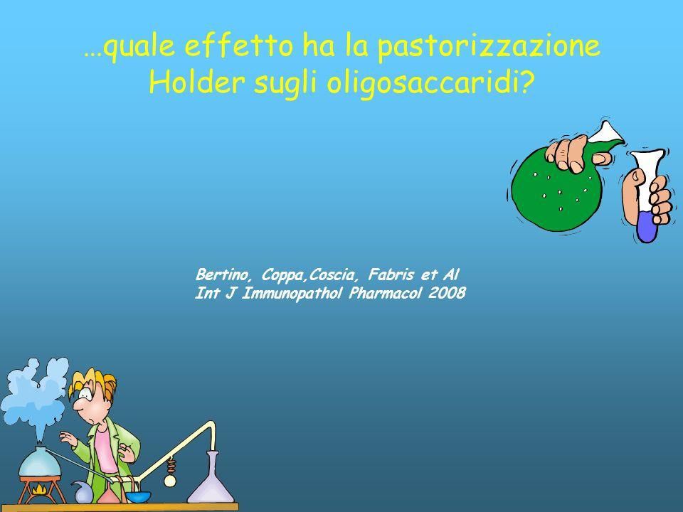 …quale effetto ha la pastorizzazione Holder sugli oligosaccaridi? Bertino, Coppa,Coscia, Fabris et Al Int J Immunopathol Pharmacol 2008