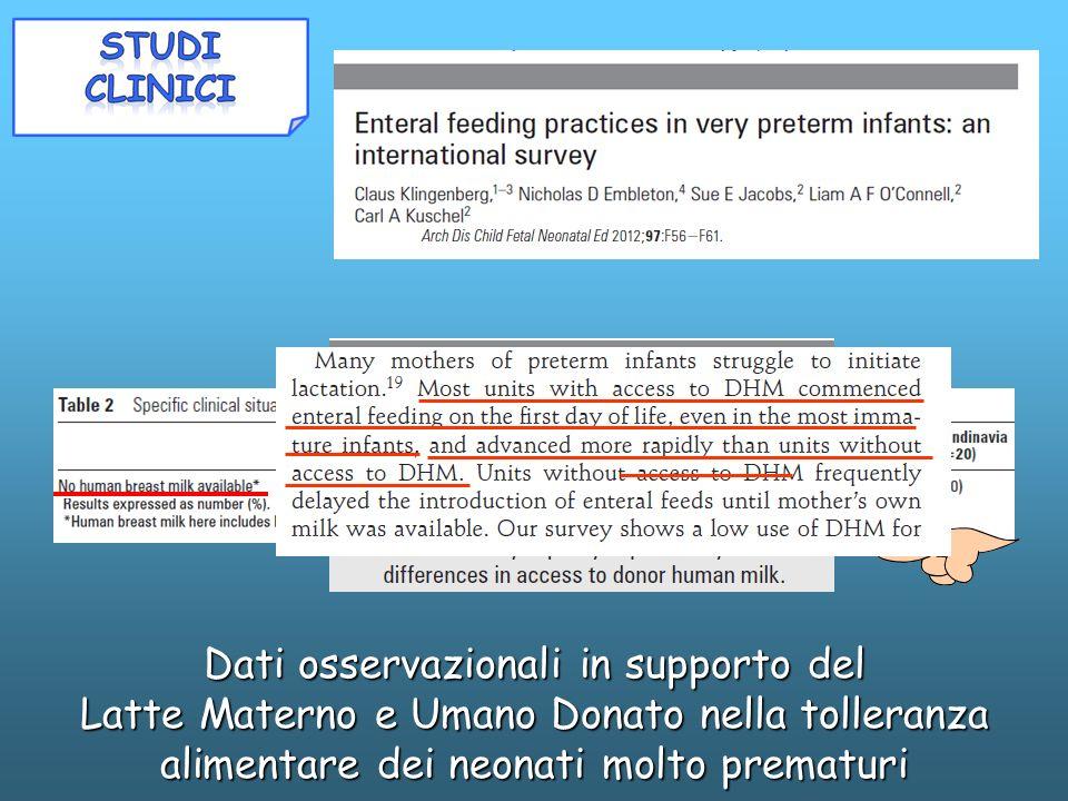 Dati osservazionali in supporto del Latte Materno e Umano Donato nella tolleranza alimentare dei neonati molto prematuri