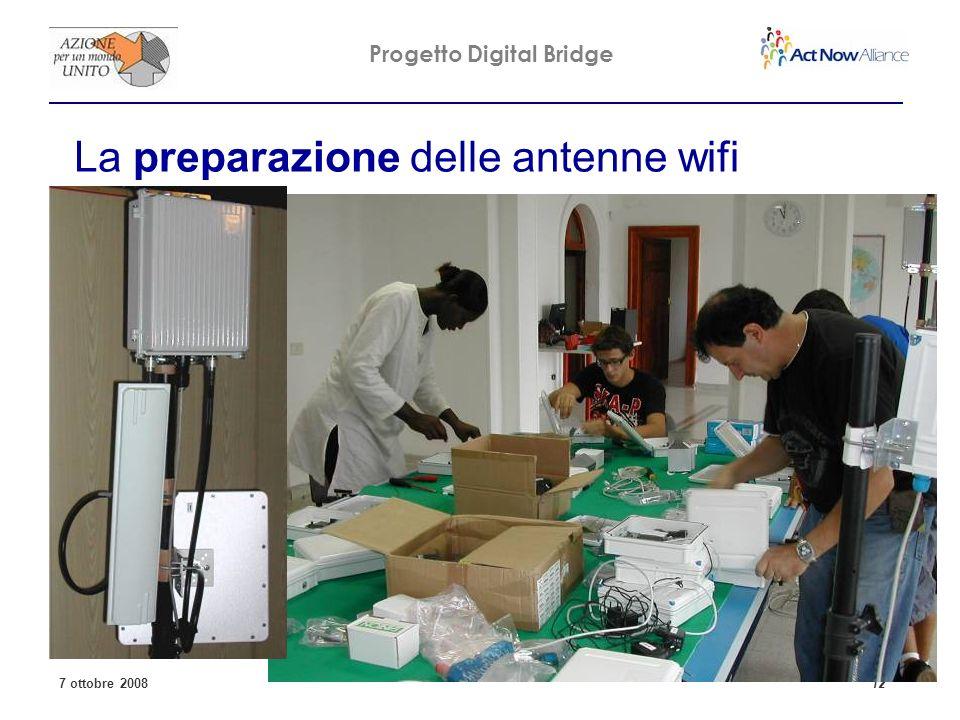 Progetto Digital Bridge 7 ottobre 2008 12 La preparazione delle antenne wifi