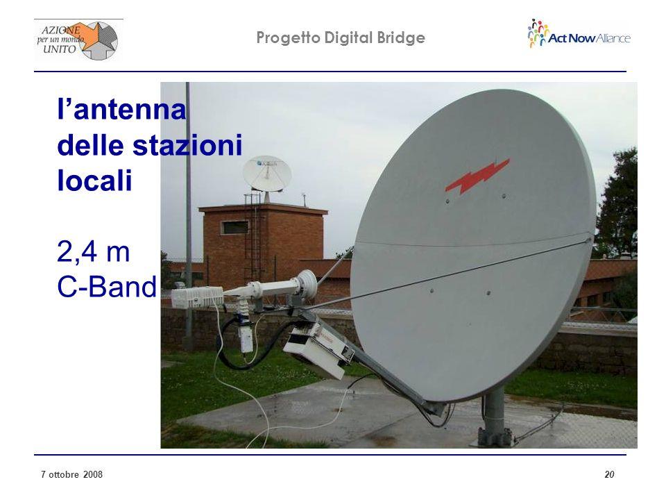Progetto Digital Bridge 7 ottobre 2008 20 lantenna delle stazioni locali 2,4 m C-Band