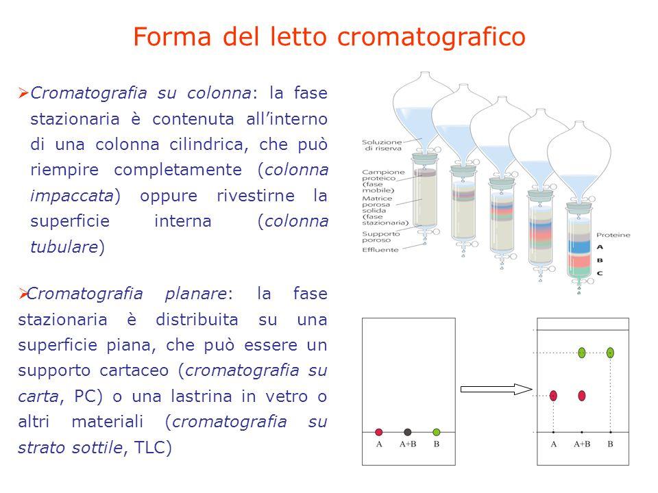 Forma del letto cromatografico Cromatografia su colonna: la fase stazionaria è contenuta allinterno di una colonna cilindrica, che può riempire completamente (colonna impaccata) oppure rivestirne la superficie interna (colonna tubulare) Cromatografia planare: la fase stazionaria è distribuita su una superficie piana, che può essere un supporto cartaceo (cromatografia su carta, PC) o una lastrina in vetro o altri materiali (cromatografia su strato sottile, TLC)