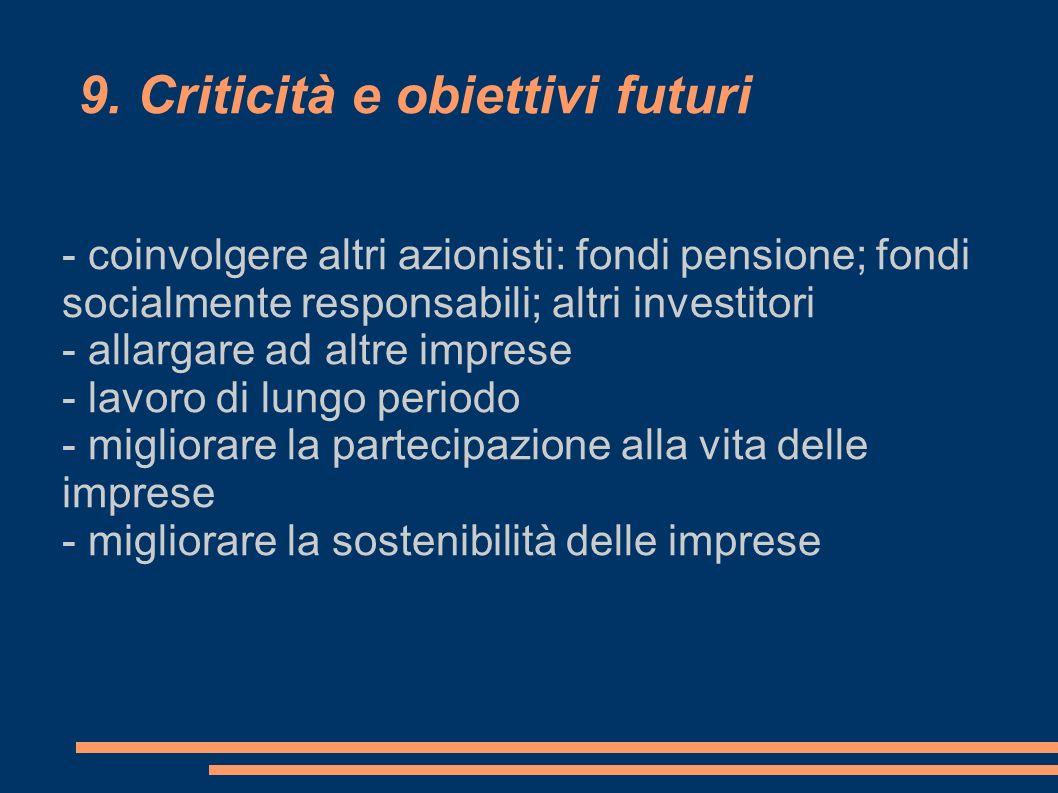 9. Criticità e obiettivi futuri - coinvolgere altri azionisti: fondi pensione; fondi socialmente responsabili; altri investitori - allargare ad altre