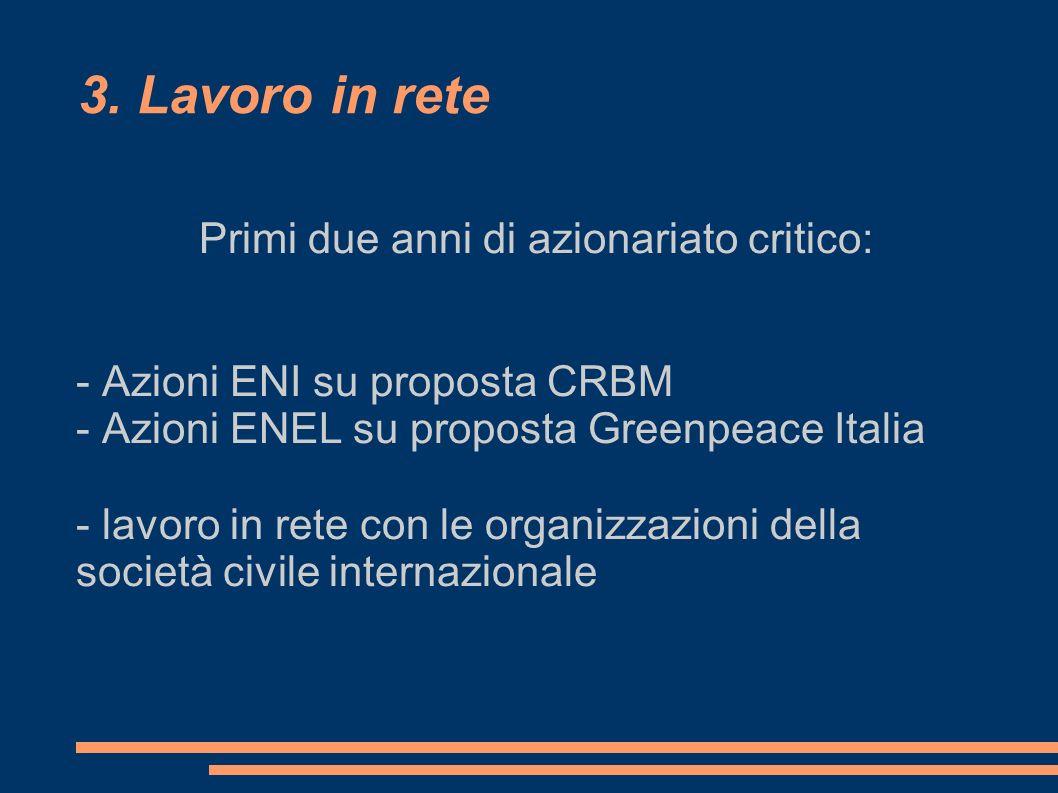 3. Lavoro in rete Primi due anni di azionariato critico: - Azioni ENI su proposta CRBM - Azioni ENEL su proposta Greenpeace Italia - lavoro in rete co