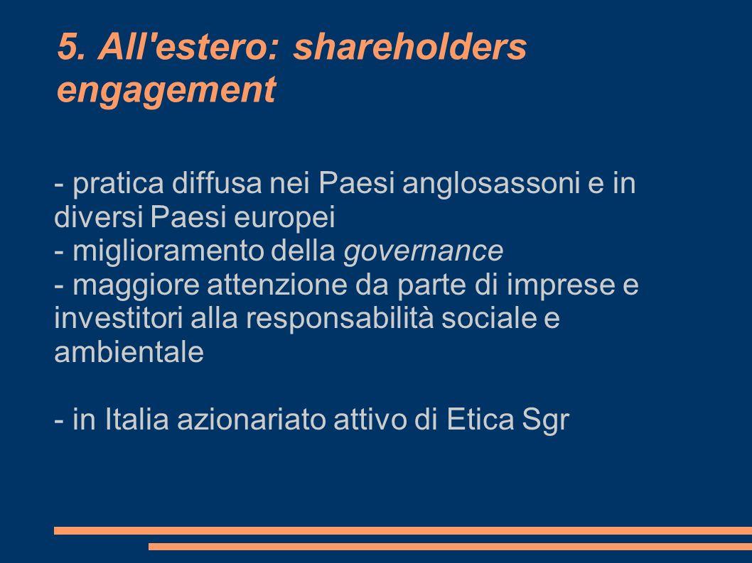 5. All'estero: shareholders engagement - pratica diffusa nei Paesi anglosassoni e in diversi Paesi europei - miglioramento della governance - maggiore