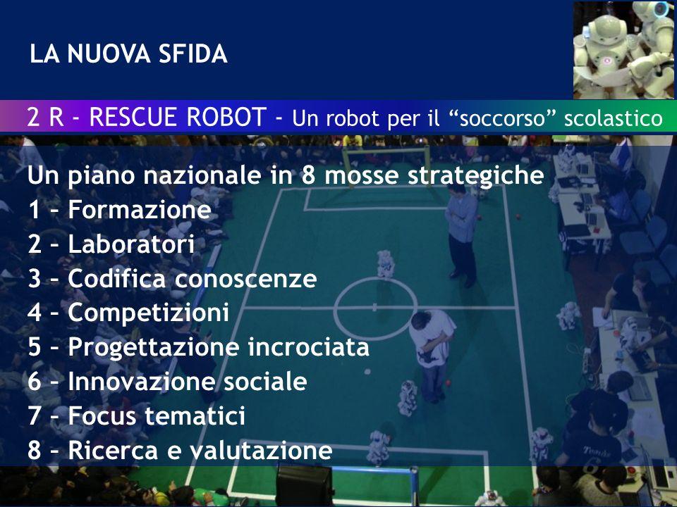 Robotica e didattica una sfida per linnovazione sociale LA NUOVA SFIDA 2 R - RESCUE ROBOT - Un robot per il soccorso scolastico Un piano nazionale in 8 mosse strategiche 1 – Formazione 2 – Laboratori 3 – Codifica conoscenze 4 – Competizioni 5 – Progettazione incrociata 6 – Innovazione sociale 7 – Focus tematici 8 – Ricerca e valutazione