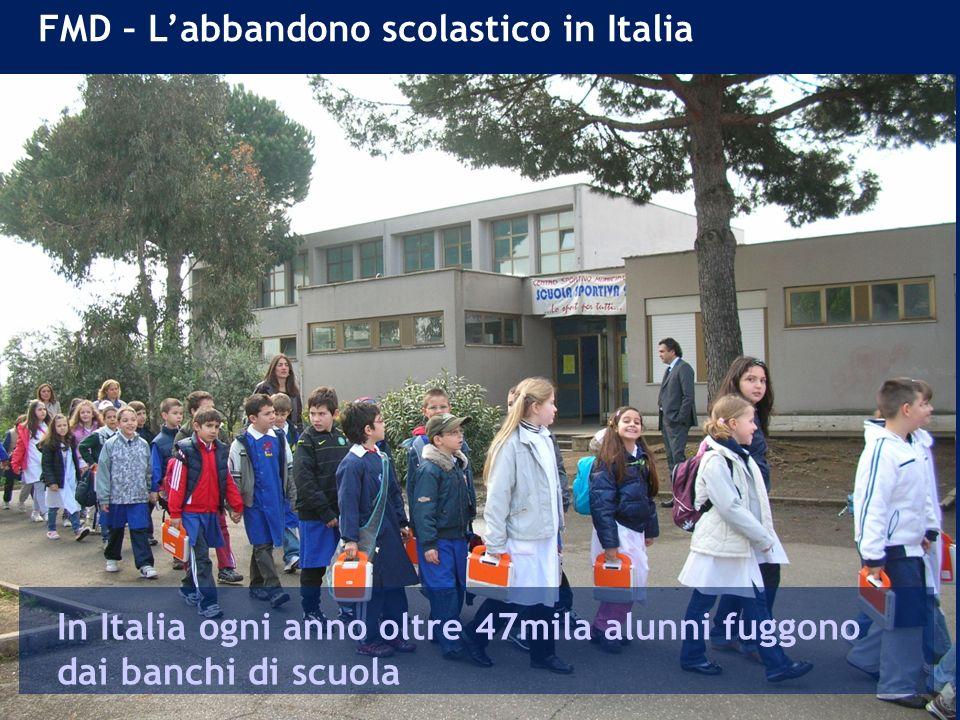FMD – Labbandono scolastico in Italia In Italia ogni anno oltre 47mila alunni fuggono dai banchi di scuola