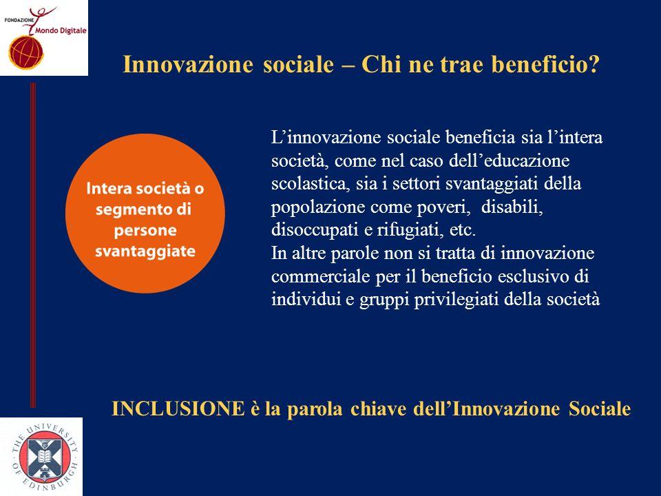 Innovazione sociale – Chi ne trae beneficio.