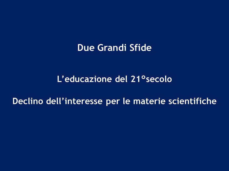 Due Grandi Sfide Leducazione del 21°secolo Declino dellinteresse per le materie scientifiche