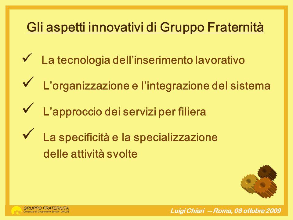 La tecnologia dellinserimento lavorativo Lorganizzazione e lintegrazione del sistema Lapproccio dei servizi per filiera La specificità e la specializz