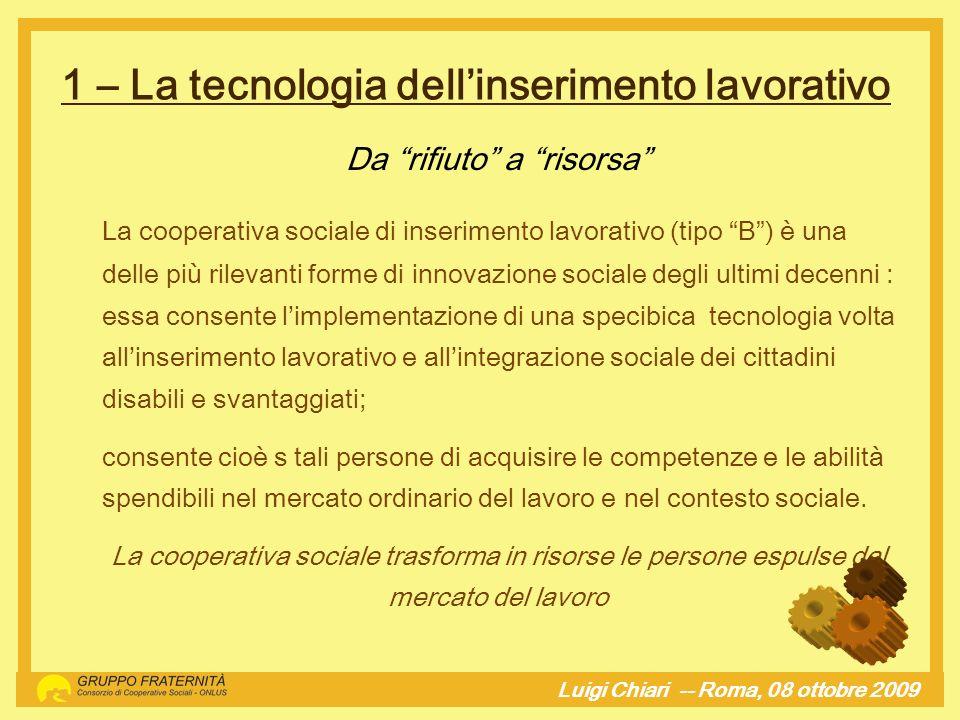 1 – La tecnologia dellinserimento lavorativo Luigi Chiari -- Roma, 08 ottobre 2009hj Da rifiuto a risorsa La cooperativa sociale di inserimento lavora