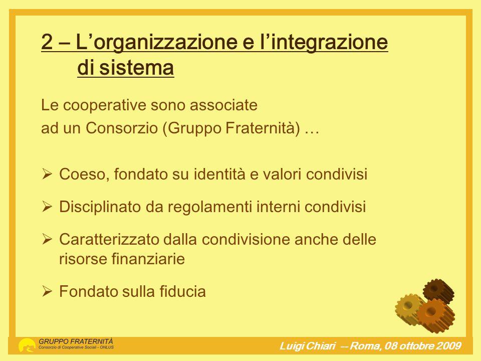 2 – Lorganizzazione e lintegrazione di sistema Luigi Chiari -- Roma, 08 ottobre 2009hj Le cooperative sono associate ad un Consorzio (Gruppo Fraternit
