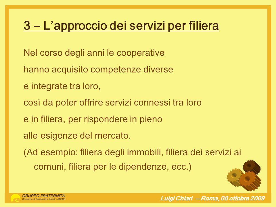 4 – La specificità e la specializzazione delle attività svolte Luigi Chiari -- Roma, 08 ottobre 2009hj Lanalisi del territorio e dei bisogni sociali sono la spinta propulsiva per lattivazione di nuove attività.
