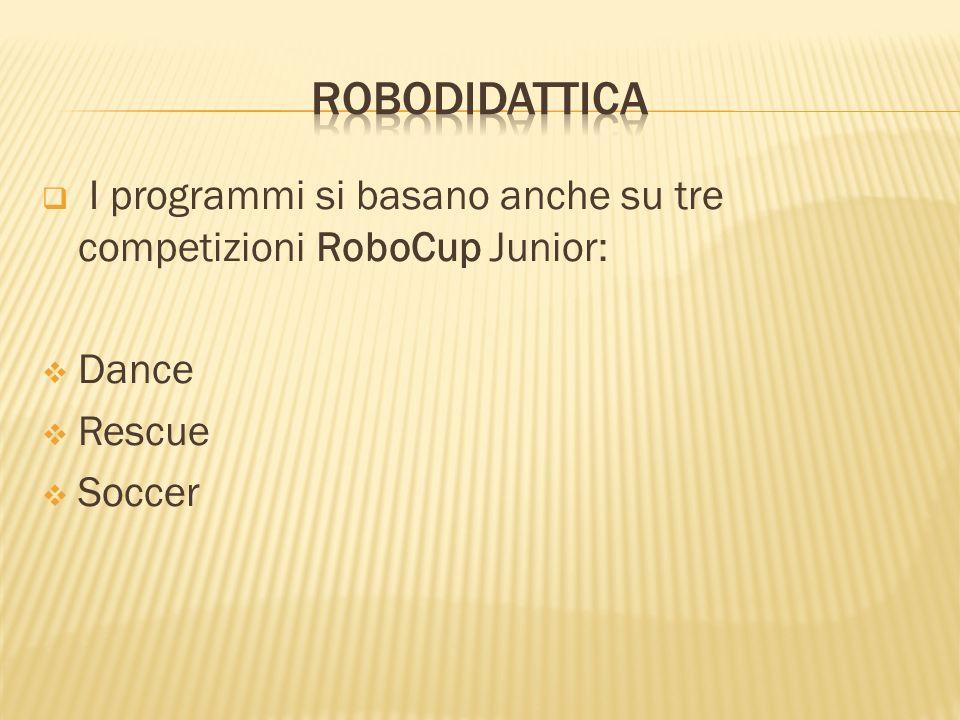 I programmi si basano anche su tre competizioni RoboCup Junior: Dance Rescue Soccer