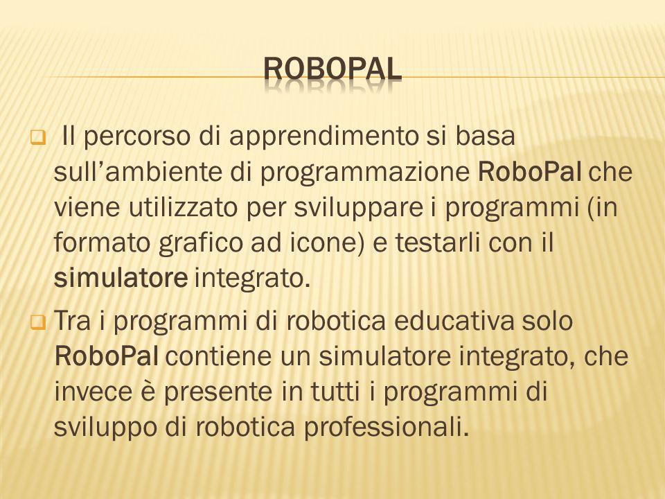 Il percorso di apprendimento si basa sullambiente di programmazione RoboPal che viene utilizzato per sviluppare i programmi (in formato grafico ad ico