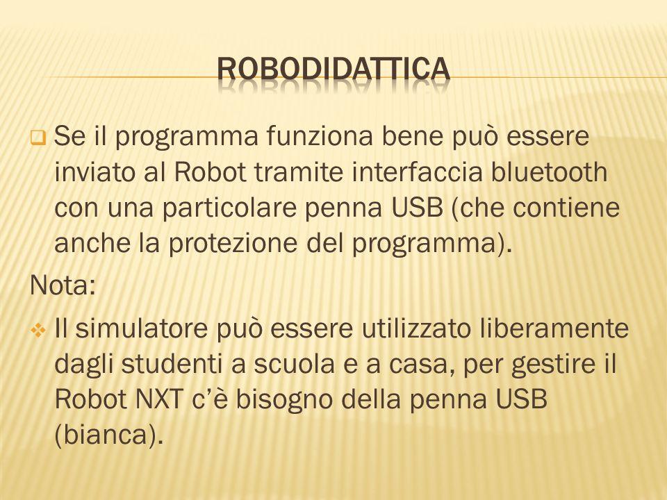 Se il programma funziona bene può essere inviato al Robot tramite interfaccia bluetooth con una particolare penna USB (che contiene anche la protezion