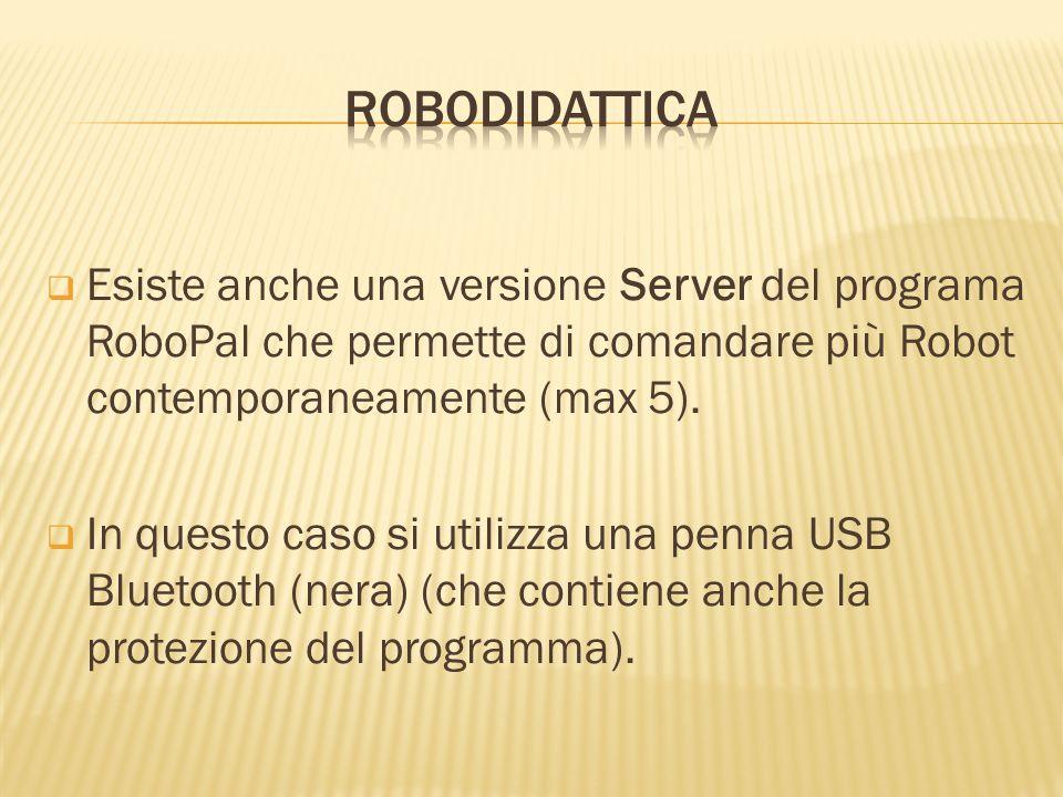 Esiste anche una versione Server del programa RoboPal che permette di comandare più Robot contemporaneamente (max 5). In questo caso si utilizza una p