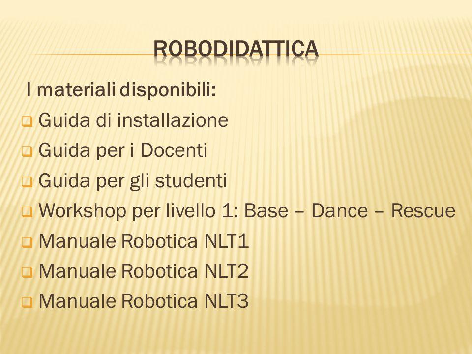 I materiali disponibili: Guida di installazione Guida per i Docenti Guida per gli studenti Workshop per livello 1: Base – Dance – Rescue Manuale Robot