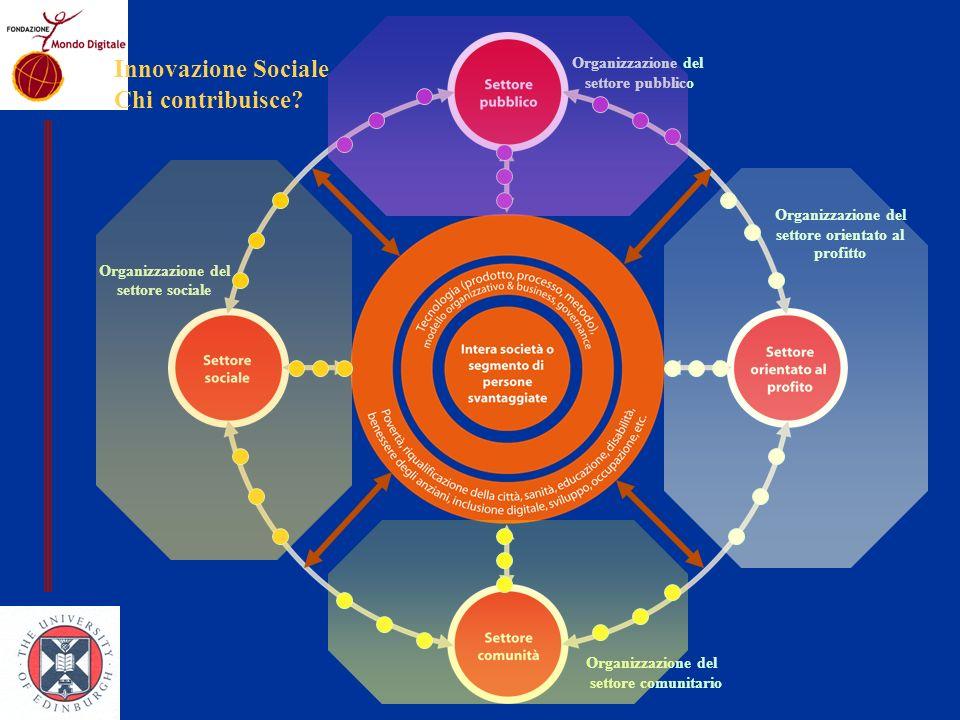 Organizzazione del settore orientato al profitto Organizzazione del settore sociale Organizzazione del settore pubblico Organizzazione del settore comunitario Innovazione Sociale Chi contribuisce