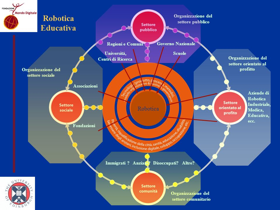 Organizzazione del settore orientato al profitto Organizzazione del settore sociale Organizzazione del settore pubblico Organizzazione del settore comunitario Regioni e Comuni Governo Nazionale Fondazioni Scuole Aziende di Robotica Industriale, Medica, Educativa, ecc.