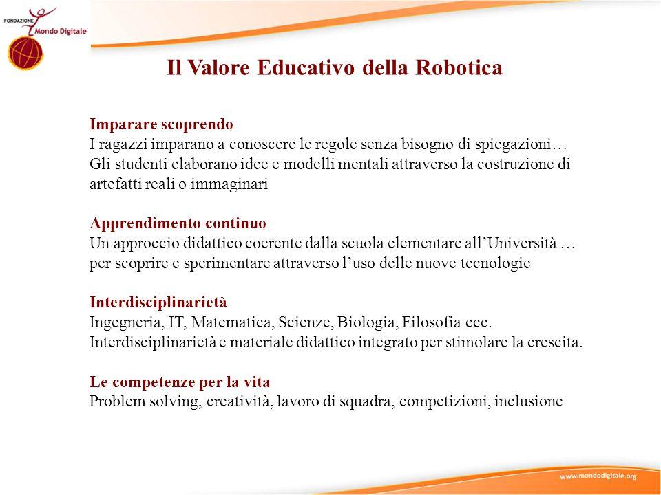 Il Valore Educativo della Robotica Imparare scoprendo I ragazzi imparano a conoscere le regole senza bisogno di spiegazioni… Gli studenti elaborano id