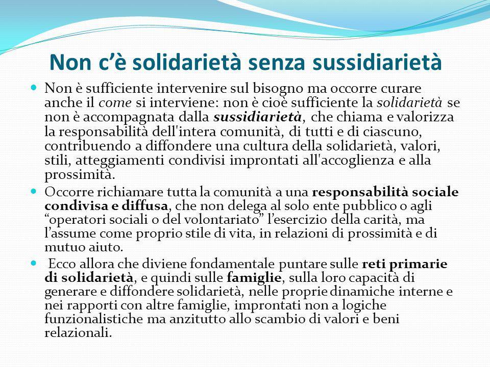 Non cè solidarietà senza sussidiarietà Non è sufficiente intervenire sul bisogno ma occorre curare anche il come si interviene: non è cioè sufficiente